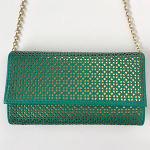 MMS Turquoise Gold Chain Clutch Purse Aztec